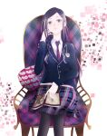 1girl abstract_background argyle_print bangs black_legwear blazer book book_on_lap cardigan chair closed_mouth colored_tips crossed_legs emblem expressionless gradient_hair grey_hair hand_in_hair hand_up highres holding holding_book jacket long_hair looking_at_viewer multicolored_hair necktie nezumiro original pantyhose parted_bangs pillow plaid plaid_skirt purple_hair school_uniform sitting skirt solo translation_request very_long_hair violet_eyes white_background