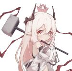 1girl arknights bare_shoulders closed_mouth eyebrows_visible_through_hair hair_between_eyes hammer highres holding holding_hammer holding_weapon long_hair long_sleeves looking_at_viewer mmhomm mudrock_(arknights) navel pointy_ears red_eyes simple_background solo weapon white_background white_hair younger