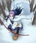 1girl ainu ainu_clothes asirpa bandana black_hair blue_eyes bow_(weapon) brown_footwear cape earrings fighting_stance foxvulpine fur_cape golden_kamuy hoop_earrings jewelry long_hair simple_background snow solo tree_branch weapon