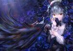 1girl black_hairband black_headwear black_wings blue_flower feathers flower fujimori_shiki hairband red_eyes rose rozen_maiden silver_hair suigintou wings