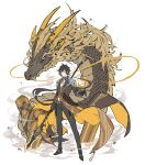 1boy bangs black_gloves black_hair closed_mouth dragon dragon_horns eastern_dragon formal fur genshin_impact gloves hair_between_eyes highres holding holding_weapon horns jacket jennygin2 jewelry long_hair long_sleeves looking_at_viewer male_focus polearm ponytail scales simple_background single_earring solo spear stone suit weapon whiskers white_background yellow_eyes zhongli_(genshin_impact)
