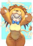 ! 1girl :o absurdres animal_costume artist_name blue_bow blush bow bowtie breasts claws eyebrows_visible_through_hair eyelashes gao guchico hair_between_eyes half-closed_eyes head_wings highres hip_focus kemono_friends kemono_friends_pavilion lion_costume looking_at_viewer medium_breasts open_mouth playground_equipment_(kemono_friends_pavilion) shiny shiny_hair shoebill_(kemono_friends) silver_hair solo tail translated v-shaped_eyebrows wide_hips yellow_eyes