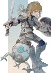1boy aqua_eyes armor belt blonde_hair brown_gloves fingerless_gloves fingernails gloves gradient gradient_background greaves highres holding holding_shield holding_sword holding_weapon link long_hair male_focus parted_lips pauldrons pointy_ears shield shoulder_armor sword the_legend_of_zelda the_legend_of_zelda:_breath_of_the_wild turtleneck urutora vambraces weapon wooden_shield