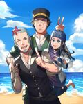 1girl 2boys ainu_clothes asirpa bandana barefoot beach black_eyes black_hair black_pants black_vest blue_eyes buzz_cut collared_shirt cowboy_shot foxvulpine golden_kamuy hat index_finger_raised kepi long_hair male_focus military_hat multiple_boys one_eye_closed pants shiraishi_yoshitake shirt simple_background sky starfish sugimoto_saichi v vest water white_shirt