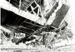 building destruction greyscale highres monochrome murata_yuusuke no_humans official_art one-punch_man scan scenery skyscraper space_craft traditional_media