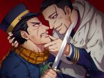 2boys black_eyes black_hair blood dagger dirty dirty_face eye_contact face-to-face foxvulpine from_side golden_kamuy hair_slicked_back hair_strand hand_on_another's_face hand_on_another's_head holding holding_dagger holding_weapon looking_at_another male_focus multiple_boys nosebleed ogata_hyakunosuke simple_background smile sugimoto_saichi teeth torn_jacket undercut upper_body weapon