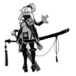 1girl bangs boots breasts bridal_gauntlets commentary_request dark_skin dark_skinned_female elbow_gloves extra_arms gloves greyscale hair_bun high_heels holding holding_sword holding_weapon huge_weapon katana long_hair long_sleeves monochrome monster_girl navel original pelvic_curtain red_sclera shawn_ger_lin sheath sheathed sketch solo spot_color standing sword thigh-highs thigh_boots under_boob weapon white_background yellow_eyes