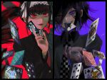 1boy 1girl alternate_costume bangs black_hair black_jacket black_nails card celestia_ludenberck checkered checkered_neckwear danganronpa danganronpa_1 drill_hair earrings eyebrows_visible_through_hair gothic_lolita gradient_hair hair_between_eyes holding holding_card jacket jewelry joh_pierrot lips lipstick lolita_fashion long_hair long_sleeves makeup mouth_hold multicolored_hair necktie new_danganronpa_v3 ouma_kokichi parted_lips playing_card purple_background purple_hair red_background red_eyes red_neckwear sidelocks signature simple_background twin_drills twintails upper_body violet_eyes