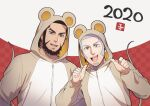 2020 2boys :d alternate_costume animal_ears beard black_hair blue_eyes buzz_cut casual chinese_new_year couple facial_hair foxvulpine goatee golden_kamuy grey_hair kiroranke male_focus mouse_boy mouse_ears mouse_tail multiple_boys open_mouth pointing pointing_at_self shiraishi_yoshitake short_hair sideburns smile tail upper_body very_short_hair