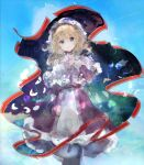1girl :o bangs blonde_hair blue_background blue_eyes blue_flower bonnet capelet collar commentary_request cross-laced_clothes dress eyebrows_visible_through_hair flower frilled_capelet frilled_collar frilled_dress frilled_hat frills gap_(touhou) glowing_flower hand_on_own_chest hand_up hat head_tilt highres iris_(flower) long_dress long_sleeves looking_at_viewer maribel_hearn medium_hair mob_cap purple_dress purple_flower sidelocks solo touhou uwazumi white_capelet white_headwear