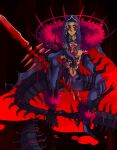 1boy angry blood blood_splatter blue_hair bodypaint cape closed_mouth cu_chulainn_(fate)_(all) cu_chulainn_alter_(fate/grand_order) dark_blue_hair dark_persona dark_skin earrings elbow_gloves facepaint fate/grand_order fate/stay_night fate_(series) frown full_body gae_bolg gloves highres hood hood_up hooded_cape jewelry long_hair looking_to_the_side male_focus monster_boy muscle pants ponytail red_eyes shirtless sitting solo spikes spread_legs tail type-moon