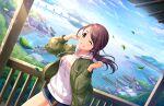 black_eyes black_hair blush dress idolmaster_cinderella_girls_starlight_stage long_hair ponytail smile yamato_aki