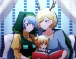 3girls :o ahoge apron bangs blonde_hair blouse blue_blouse blue_hair blunt_bangs blush book child closed_mouth collarbone curtains double_bun dragon_horns eyebrows_visible_through_hair eyes_visible_through_hair green_apron hair_over_one_eye hair_scarf haniyasushin_keiki highres horns joutouguu_mayumi juliet_sleeves kicchou_yachie long_hair long_sleeves looking_at_another magatama magatama_necklace motherly multiple_girls open_book open_mouth parted_lips pillow pointing puffy_short_sleeves puffy_sleeves reading red_eyes see-through shirt short_hair short_sleeves sitting sleeves_past_elbows swept_bangs touhou turtle_shell turtleneck upper_body wide_sleeves yellow_eyes yellow_shirt younger yukome