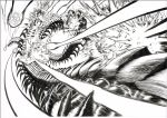 battle elder_centipede explosion fighting flying greyscale metal_knight missile monochrome murata_yuusuke official_art one-punch_man scan traditional_media white_background