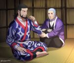 2boys ainu_clothes beard black_hair black_pants black_vest blue_eyes blue_kimono buzz_cut closed_eyes crossed_legs earrings facial_hair foxvulpine full_body goatee golden_kamuy grey_hair hoop_earrings jacket japanese_clothes jewelry kimono kiroranke leg_hug looking_at_another male_focus multiple_boys open_clothes open_jacket pants purple_jacket shiraishi_yoshitake short_hair sideburns very_short_hair vest