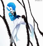 1girl alternate_color alternate_eye_color armlet artist_name bangs black_eyes black_legwear blue_hair blue_skin blush bob_cut collar collarbone colored_skin commentary english_commentary flat_chest full_body gardevoir gen_3_pokemon hair_over_one_eye hand_up highres invisible_chair jewelry methynecros necklace open_mouth pokemon pokemon_(creature) ring shiny shiny_hair shiny_pokemon short_hair signature sitting solo spiked_collar spikes thigh-highs two-tone_skin white_background white_skin