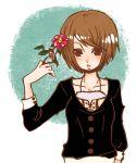 androgynous brown_eyes brown_hair flower kaprice short_hair