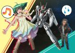 beard boots dress facial_hair flat_chest frown green_hair grey_hair hands_on_hips jacket jewelry macross macross_frontier mecha musical_note necklace ozma_lee ponytail ranka_lee red_eyes scarf short_twintails space sweatdrop twintails vf-25