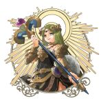1girl alternate_color armlet bangle bangs black_dress bracelet bracer circlet dress goddess green_eyes green_hair highres holding holding_staff jewelry kid_icarus long_hair looking_at_viewer neck_ring necklace nishikuromori open_mouth palutena parted_bangs shield side_slit simple_background smile solo staff strapless strapless_dress super_smash_bros. very_long_hair white_background