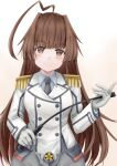 1girl ahoge alternate_costume black_neckwear breasts brown_eyes brown_hair cosplay double-breasted epaulettes gloves grey_skirt highres holding holding_pointer huge_ahoge kantai_collection katori_(kantai_collection) katori_(kantai_collection)_(cosplay) koru_pera kuma_(kantai_collection) long_hair long_sleeves looking_at_viewer military military_uniform miniskirt necktie pointer riding_crop skirt small_breasts smile solo uniform upper_body white_gloves