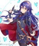 1girl belt blue_eyes blue_hair blue_shirt bug butterfly cape crown cute falchion_(fire_emblem) fingerless_gloves fire_emblem fire_emblem:_kakusei fire_emblem_13 fire_emblem_awakening gloves haru_(nakajou-28) highres insect intelligent_systems long_hair looking_at_viewer lucina_(fire_emblem) mask moe nintendo red_cape sheath shirt solo sword weapon