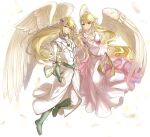 1boy 1girl bird_wings blonde_hair brother_and_sister circlet dress feathers fire_emblem fire_emblem:_path_of_radiance green_eyes green_footwear haru_(nakajou-28) highres leanne_(fire_emblem) long_hair looking_at_viewer pointy_ears reyson_(fire_emblem) siblings white_background white_dress white_robe wings