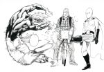absurdres backpack bag bald belt bicycle bodysuit cape checkered checkered_shirt closed_mouth garou_(one-punch_man) gloves ground_vehicle hair_slicked_back highres jitome kicking king_(one-punch_man) long_sleeves motion_blur murata_yuusuke official_art one-punch_man pants parted_lips saitama_(one-punch_man) scan scar scar_across_eye shirt shoes simple_background traditional_media white_background wide-eyed