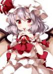 1girl alternate_hair_color ascot bangs bat_wings belt blood_on_fingers eyebrows_visible_through_hair grey_hair hair_ribbon hat highres jewelry looking_at_viewer medium_hair mob_cap open_mouth red_belt red_eyes red_neckwear red_ribbon remilia_scarlet ribbon ruu_(tksymkw) shirt short_sleeves simple_background skirt skirt_set smile solo standing touhou v-shaped_eyebrows vampire white_background white_headwear white_shirt white_skirt wings wrist_cuffs