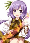 1girl bangs biwa_lute chain collarbone dress eyebrows_visible_through_hair flower flower_on_head hair_ornament highres instrument leaf_hair_ornament long_hair long_sleeves looking_at_viewer lute_(instrument) music musical_note open_mouth pink_flower playing_instrument purple_hair ruu_(tksymkw) simple_background sitting smile solo touhou tsukumo_benben violet_eyes white_background yellow_dress