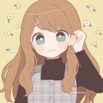 1girl adjusting_hair aqua_eyes bangs black_sweater bright_pupils brown_hair closed_mouth earrings floral_background hand_up highres jewelry long_hair long_sleeves looking_at_viewer nokanok original plaid smile solo sweater swept_bangs symbol_commentary twitter_username upper_body white_pupils yellow_background