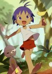 1boy 1girl :d animal antenna_hair bare_arms barefoot bird bird_on_hand blue_eyes blue_hair child commentary_request dark_skin dark_skinned_male day dress dutch_angle guu hare jungle jungle_wa_itsumo_hare_nochi_guu leaf nature noeyebrow_(mauve) open_mouth outdoors outstretched_arms pink_hair red_shorts running short_hair shorts signature smile strapless strapless_dress tank_top