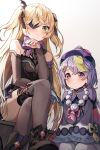 2girls absurdres bandages bead_necklace beads blush bodysuit bow bowtie crossed_legs dress eyepatch fischl_(genshin_impact) fishnet_bodysuit fishnets genshin_impact green_eyes hair_ornament hair_ribbon han_seol highres huge_filesize jewelry jiangshi long_hair multiple_girls necklace open_clothes open_dress pantyhose purple_hair qiqi ribbon sitting thighs twintails violet_eyes