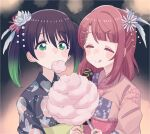 2girls bangs biting black_hair blurry blush_stickers bokeh chocolate_banana closed_eyes cotton_candy cream_(nipakupa) depth_of_field feathers flower gradient_hair green_eyes green_hair hair_feathers hair_flower hair_ornament highres japanese_clothes kanzashi kimono love_live! love_live!_nijigasaki_high_school_idol_club multicolored_hair multiple_girls sharing_food summer_festival takasaki_yuu twintails two-tone_hair uehara_ayumu upper_body yukata