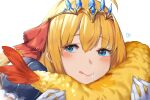 1girl blonde_hair blue_eyes blush closed_mouth drooling eyebrows_visible_through_hair food frills gloves heart highres holding holding_food long_hair makarony pecorine_(princess_connect!) pink_lips princess_connect! princess_connect!_re:dive puffy_sleeves saliva simple_background solo tempura tiara tongue tongue_out upper_body white_background white_gloves