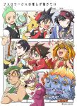 2girls 6+boys :d ;d artist_name backwards_hat bakugan bakugan:_battle_planet bangs baseball_cap bikkuriman bikkuriman_2000 black_hair black_shirt black_vest blonde_hair blue_jacket blush bow bowtie breasts brown_hair cellphone character_request cilan_(pokemon) closed_mouth commentary_request copyright_request crossed_arms cup dan_kouzo elbow_gloves emet-selch epaulettes eyepatch facial_mark final_fantasy final_fantasy_xiv fingerless_gloves fingernails forehead_mark gen_1_pokemon gen_8_pokemon gloves green_eyes green_hair green_headwear green_neckwear grey_eyes hat heart holding holding_cup holding_phone holding_poke_ball holding_teapot index_finger_raised jacket kangaskhan kyoutou_kotoba_rpg:_kotodaman long_sleeves multicolored_hair multiple_boys multiple_girls nagi_(exsit00) no_sclera one_eye_closed open_mouth orange_hair parted_bangs phone pika_(pokemon) pikachu poke_ball poke_ball_(basic) pokemon pokemon_(creature) pokemon_adventures pokemon_on_back polteageist pouring purple_gloves red_(pokemon) red_shirt shirt short_hair short_sleeves sinistea smartphone smile streaked_hair sweatdrop teapot teeth tongue translation_request two-tone_hair vest white_hair white_shirt x_(pokemon) yellow_eyes