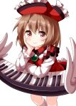 1girl bangs brown_eyes brown_hair closed_mouth collarbone dress elbow_rest eyebrows_visible_through_hair floating frilled_hat frills hand_on_own_face hat highres instrument keyboard_(instrument) long_sleeves looking_at_viewer lyrica_prismriver red_dress red_headwear ruu_(tksymkw) short_hair simple_background smile solo standing touhou white_background white_legwear white_wings wings