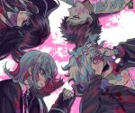 2boys 2girls bangs black_jacket black_shirt bong_(0u0bon) brown_hair button_eyes collarbone collared_shirt commentary_request corpse crossover danganronpa fingernails flipped_hair grey_hair hinata_hajime identity_v jacket komaeda_nagito laughing long_fingernails long_hair long_sleeves lying medium_hair multiple_boys multiple_girls nanami_chiaki on_back on_side open_mouth pink_blood pink_eyes pink_hair pink_ribbon purple_hair red_nails ribbon shirt short_hair sleeves_past_wrists super_danganronpa_2 tsumiki_mikan two-tone_shirt upper_body very_short_hair white_shirt