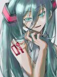 1girl aqua_eyes aqua_hair arm_tattoo bangs eyebrows_visible_through_hair grey_background grey_shirt hair_between_eyes hand_in_hair hatsune_miku highres holding holding_hair joh_pierrot long_hair number number_tattoo open_mouth shirt signature simple_background sleeveless sleeveless_shirt solo tattoo twintails upper_body vocaloid