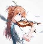 1girl bangs blue_eyes blurry blurry_background blurry_foreground bow_(instrument) commentary depth_of_field from_side hair_ornament highres holding holding_instrument instrument interface_headset long_hair looking_ahead music neon_genesis_evangelion parted_lips playing_instrument redhead school_uniform shirt short_sleeves sketch solo souryuu_asuka_langley two_side_up upper_body violin white_background white_feathers white_shirt yakisobaosu