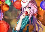 1girl aqua_shirt bangs blurry blurry_background blush bright_pupils candy_apple collared_shirt commentary_request covering_mouth eating food garaudon hair_between_eyes hand_up hata_no_kokoro highres lantern long_hair looking_at_viewer looking_back mask mask_on_head noh_mask orange_ribbon paper_lantern pink_eyes pink_hair plaid plaid_shirt red_ribbon ribbon shirt solo touhou upper_body