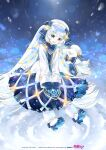 1girl 1other beret blue_bow blue_collar blue_eyes blue_gloves blue_tabard blurry bokeh book boots bow braid christmas_lights collar commentary crypton_future_media depth_of_field dress full_body fur-trimmed_boots fur_trim gloves gold_trim hair_ornament hairclip hat hatsune_miku highres holding holding_book kei_(keigarou) lens_flare light_blue_hair long_hair looking_at_viewer musical_note_hair_ornament night official_art open_mouth piapro rabbit_yukine smile snow snowflake_print snowing tabard twintails very_long_hair vocaloid white_dress white_headwear yuki_miku yuki_miku_(2021)