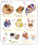 1boy 1girl animal_crossing balloon box cake cake_slice candy cheese cherry chibi coffee dom_(animal_crossing) floral_print flower food fork fruit gift gift_box glass grey_background isabelle_(animal_crossing) leaf no_humans objectification plate red_flower rover_(animal_crossing) ryota_(ry_o_ta) simple_background timmy_(animal_crossing) tommy_(animal_crossing) translation_request white_flower wooden_floor yellow_flower