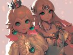 2girls aqua_eyes artist_name bangs bellhenge blonde_hair blush bracelet breasts brooch closed_mouth crown dress dutch_angle earrings emerald_(gemstone) glint grey_background jewelry long_hair looking_at_viewer mario_(series) medium_breasts multiple_girls necklace parted_bangs pearl_necklace pink_nails pointy_ears princess_peach princess_zelda puffy_short_sleeves puffy_sleeves short_sleeves simple_background smile super_smash_bros. the_legend_of_zelda upper_body white_dress