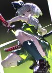 1girl black_bow black_footwear black_hairband black_ribbon bloom bob_cut bow bowtie breasts closed_mouth commentary gradient gradient_background green_background green_eyes green_legwear green_skirt green_vest hair_ribbon hairband highres hitodama_print holding holding_sword holding_weapon katana konpaku_youmu looking_at_viewer puffy_short_sleeves puffy_sleeves ribbon short_hair short_sleeves silver_hair skirt small_breasts socks solo squatting sword touhou uu_uu_zan v-shaped_eyebrows vest weapon