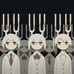 6+others avogado6 black_background bow bowtie bright_pupils long_sleeves looking_at_viewer multiple_others necktie no_mouth original red_bow red_eyes red_neckwear tuning_fork white_hair white_pupils