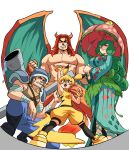 2boys 2girls abs animal_ears arm_rest arm_up armor armpits baggy_shorts bandaged_arm bandaged_wrist bandages bangs blastoise blonde_hair blue_hair blush_stickers boots bracelet breastplate breasts charizard child cigar clenched_hands clenched_teeth commentary curly_hair dragon_boy dragon_horns dragon_wings dripping english_commentary eyebrows_visible_through_hair facial_hair fingerless_gloves fisheye from_below full_body gen_1_pokemon gloves green_eyes half-closed_eyes hand_up height_difference helmet highres holding holding_umbrella horns japanese_clothes jewelry kimono kneehighs large_breasts leaf lipstick long_hair long_sleeves looking_at_viewer makeup mouth_hold multiple_boys multiple_girls muscle no_nipples one_knee open_mouth outstretched_arm over_shoulder pants parasol pectorals personification pikachu pokemon pokemon_(game) pokemon_rgby pose red_eyes redhead shirt shirtless shoes short_hair shorts shoulder_armor sleeveless sleeveless_shirt smile spread_legs standing tail teeth tina_fate umbrella v-shaped_eyebrows venusaur very_long_hair water weapon weapon_on_back wide_sleeves wings yellow_eyes