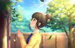 black_hair blush dress green_eyes hamaguchi_ayame idolmaster_cinderella_girls_starlight_stage short_hair smile