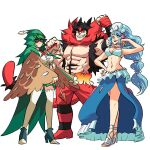 1boy 2girls animal_ears arm_up armpits bandaged_hands bandages bikini bikini_top black_hair blue_eyes blue_hair boots capelet cat_boy cat_ears cat_tail clenched_hands commentary decidueye detached_sleeves english_commentary eye_mask full_body fur_collar gen_7_pokemon green_eyes grin hand_up height_difference high_heels highres hood hood_up hooded_capelet incineroar long_hair long_sleeves looking_at_viewer mask multicolored multicolored_eyes multiple_girls muscle navel open_clothes open_vest pectorals personification pokemon pokemon_(game) pokemon_sm pose primarina red_eyes shoes short_hair skirt smile stomach stomach_tattoo swimsuit tail tattoo thigh-highs tina_fate very_long_hair vest wide_sleeves yellow_eyes