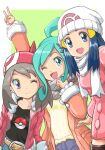 3girls :d ;) ;d bangs beanie belt black_shirt blue_eyes blue_hair blush boots breasts brown_hair closed_mouth collarbone dawn_(pokemon) denim green_background hat jacket jeans lisia_(pokemon) long_hair looking_at_viewer may_(pokemon) medium_breasts menome multiple_girls one_eye_closed open_mouth orange_jacket pants pink_coat poke_ball pokemon pokemon_(game) pokemon_dppt pokemon_oras pokemon_platinum pokemon_rse red_bandana red_jacket scarf shirt small_breasts smile swept_bangs thigh-highs thigh_boots upper_body white_headwear white_scarf winter_clothes yellow_shirt