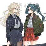 ... 2girls ? anno88888 bangs black_jacket black_legwear black_skirt blonde_hair blue_eyes bomber_jacket breasts closed_mouth fur-trimmed_jacket fur_trim green_eyes green_hair green_jacket hair_ribbon hakama hakama_skirt hands_in_pockets highres holding hornet_(kantai_collection) jacket japanese_clothes kantai_collection large_breasts long_hair long_sleeves multiple_girls necktie pantyhose red_hakama ribbon shirt simple_background skirt spoken_ellipsis spoken_question_mark twintails white_background white_shirt zuikaku_(kantai_collection)